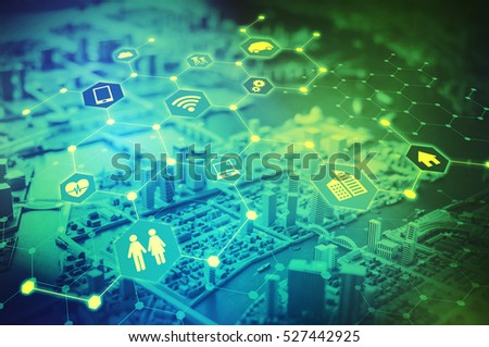 Duo tone graphic of Internet of Things concept abstract, smart city, smart grid, sensor network, environmental monitoring #527442925