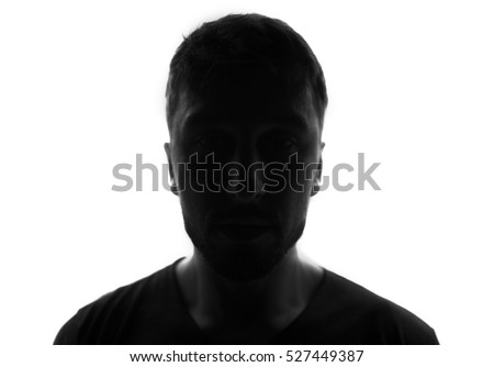 Hidden face in the shadow.male person silhouette #527449387
