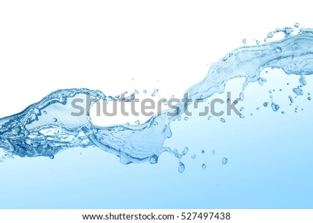 water splash isolated on white background,beautiful splashes a clean water #527497438