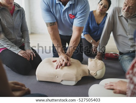 CPR First Aid Training Concept #527505403
