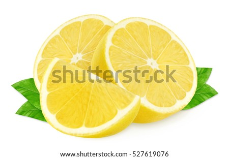 Isolated lemons. Two half of lemons and a piece isolated on white, with clipping path #527619076