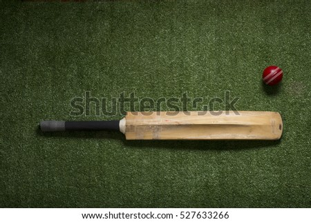 Cricket ball and bat on lawn with copy space #527633266