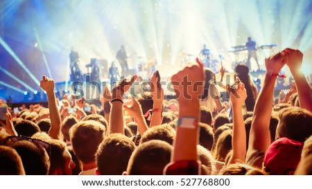 Party people enjoy concert at festival Royalty-Free Stock Photo #527768800