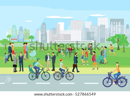 People at leisure in the park, 3D illustration