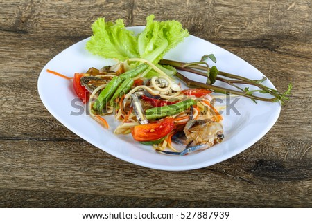 Thai spice crab salad with papaya #527887939