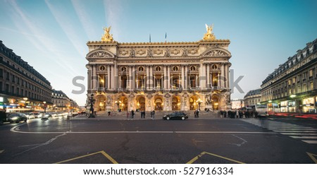 Palais or Opera Garnier & The National Academy of Music at dusk in Paris, France. It is a 1979-seat opera house, which was built from 1861 to 1875 for the Paris Opera.