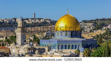 Mousque of Al-aqsa (Dome of the Rock) in Old Town - Jerusalem, Israel  Royalty-Free Stock Photo #528053860