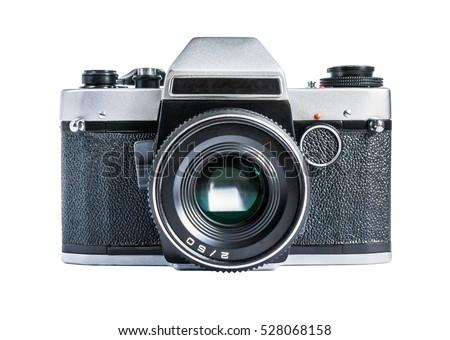 Retro film photo camera isolated on white background Royalty-Free Stock Photo #528068158