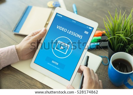 VIDEO LESSON CONCEPT ON SCREEN Royalty-Free Stock Photo #528174862