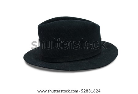 Black fedora hat, isolated on white with clipping path #52831624