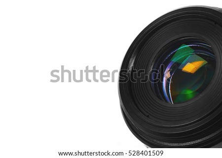 Lens for camera and reflection in glass isolated in white background