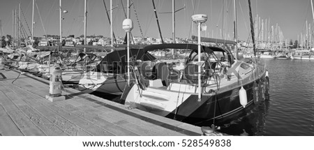 Italy, Sicily, Mediterranean sea, Marina di Ragusa; 1 December 2016, luxury yachts in the port - EDITORIAL #528549838