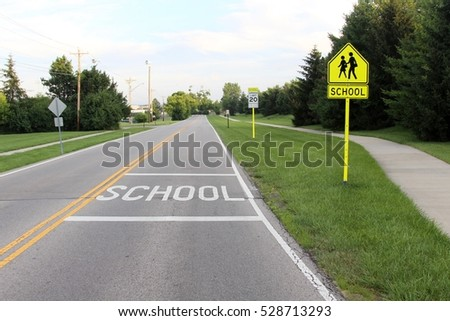 The beginning of the school zone.