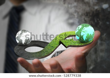 Green circular economy concept. Hand showing arrow infinity symbol with grass texture and two globes of different colors. #528779338