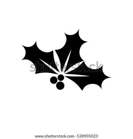 Holly berry icon, Christmas mistletoe, flat design template, vector