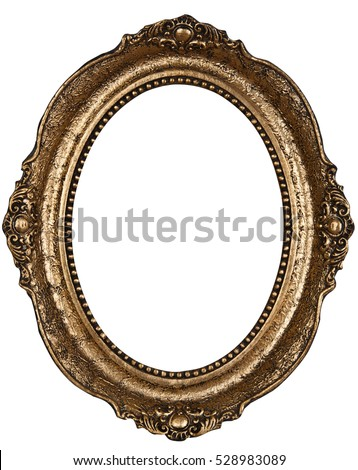Old bronze color round wooden frame isolated
