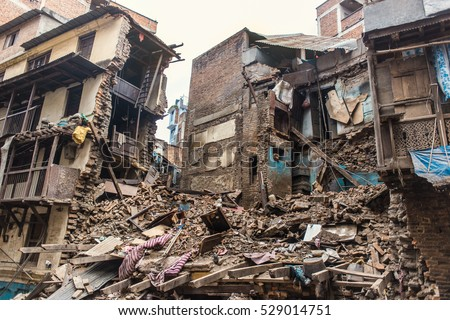 destroyed houses in kathmandu after the earthquake, april 2015 Royalty-Free Stock Photo #529014751