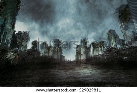 Rain in the destroyed city Royalty-Free Stock Photo #529029811