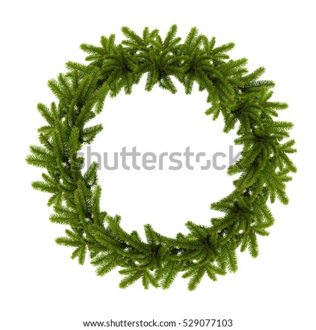 traditional green christmas wreath isolated on white background. festive decoration #529077103