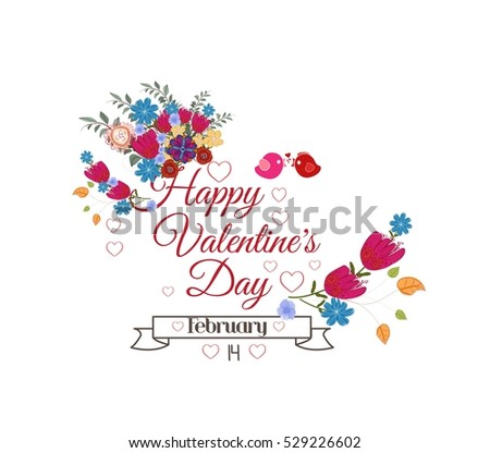 Valentines day card. Bright flowers background #529226602