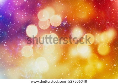 abstract blurred of blue and silver glittering shine bulbs lights background:blur of Christmas wallpaper decorations concept.xmas holiday festival backdrop:sparkle circle lit celebrations display. #529306348
