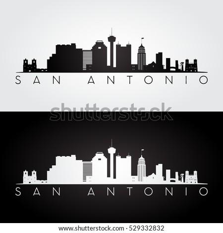 San Antonio USA skyline and landmarks silhouette, black and white design, vector illustration