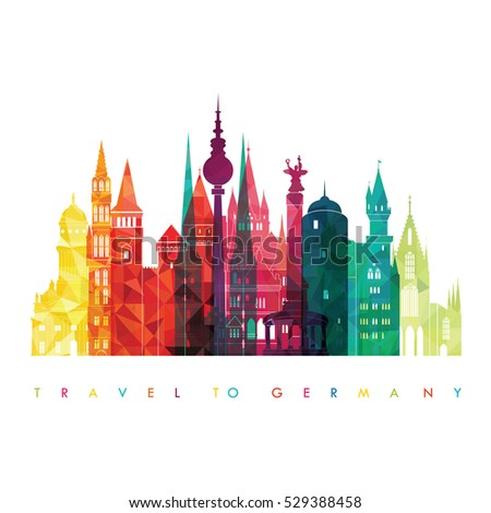 Travel Germany famous landmarks skyline. Vector illustration #529388458
