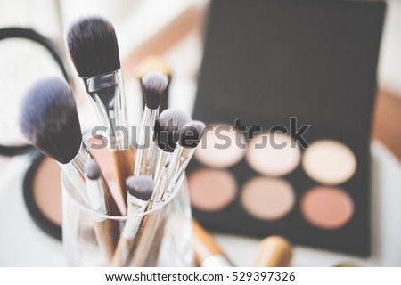 Professional makeup brushes and tools Royalty-Free Stock Photo #529397326