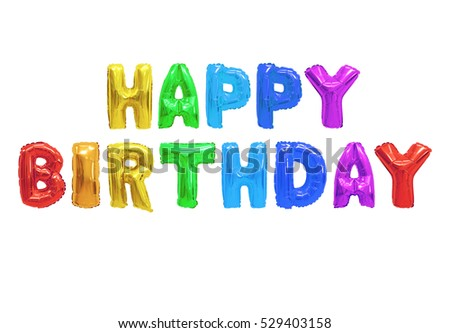 Word happy birthday in english alphabet from colors (rainbow) balloons on a white background. holidays and education.