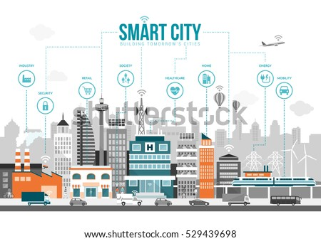 Smart city with smart services and icons, internet of things, networks and augmented reality concept Royalty-Free Stock Photo #529439698