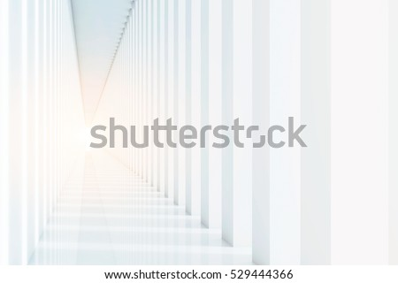 Corridor white. 3d rendering Mock up Toned image Royalty-Free Stock Photo #529444366