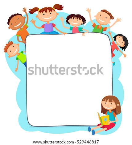 illustration of kids peeping behind placard children together  template kids sitting girl with a book banner