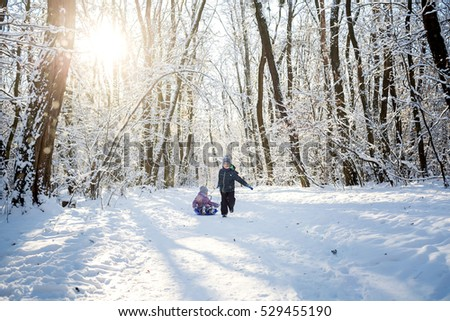 Cute boy and little girl having fun with sled in winter park #529455190