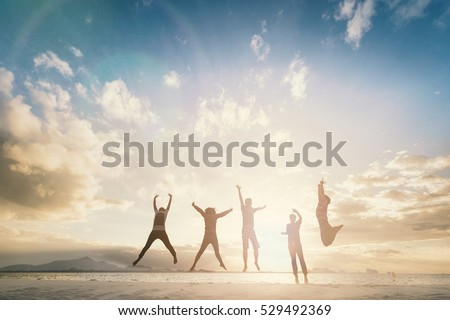 Happy family people feel enjoy celebrate life on great well healthy wellbeing concept victory together hope freedom. Leader mlm business team travel on new workplace in morning landscape summer time. Royalty-Free Stock Photo #529492369