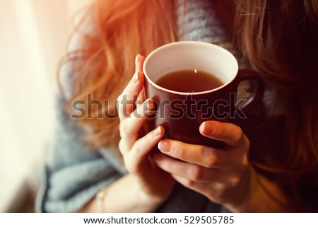 Drink Tea relax cosy photo with blurred background. Female hands holding mug of hot Tea in morning. Young woman relaxing tea cup on hand. Good morning Tea or Have a happy day message concept. #529505785