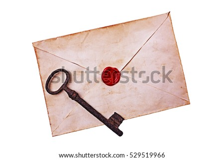 Old envelope with red wax and rusty key isolated on white background. #529519966