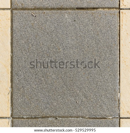 Interior or exterior bathroom or kitchen square ceramic tiles. Image of interior flooring with grey beige pavement slabs. Dimension 20 x 20 cm #529529995