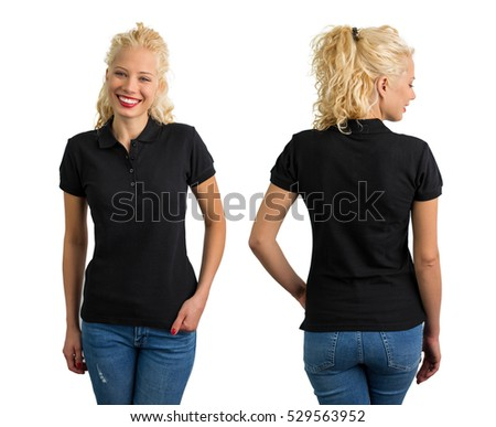 Woman in black polo T-shirt  #529563952