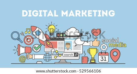 Digital marketing concept. Social network and media communication. SEO, SEM and promotion. Royalty-Free Stock Photo #529566106