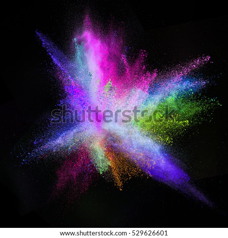 Launched colorful powder, isolated on black background #529626601