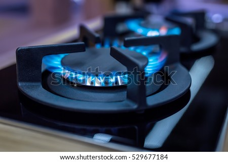 Modern kitchen stove cook with blue flames burning. Royalty-Free Stock Photo #529677184