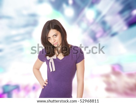 Portrait of a young happy woman over abstract background #52968811