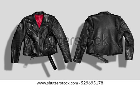 Classic black leather bikers' jacket with silk red lining shot from the front and the back isolated on white Royalty-Free Stock Photo #529695178