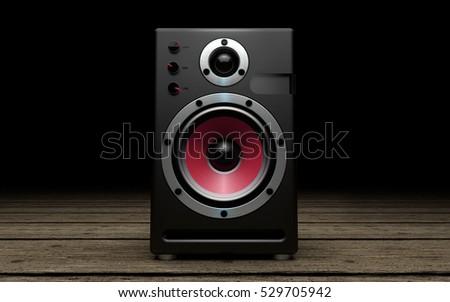 Audio speakers on black background #529705942