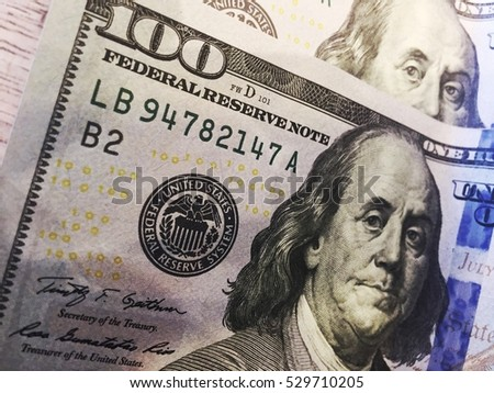 100 Dollars closeup. Highly detailed picture of U.S.A money #529710205