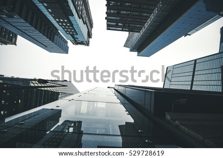 Modern skyscrapers in a business district Royalty-Free Stock Photo #529728619