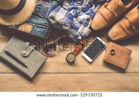 Clothing for Men on the wooden floor #529730725