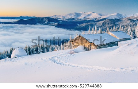 Cabin in the mountains in winter. Mysterious fog. In anticipation of holidays. Carpathians. Ukraine, Europe. Happy New Year.