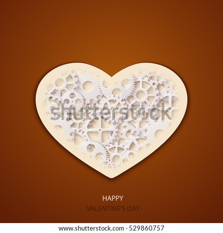Vector modern valentines day background. Concept heart icon and gears #529860757