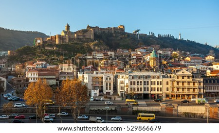 Narikala fortress and the old town of Tbilisi in the morning, Georgia, 25.11.2016. #529866679